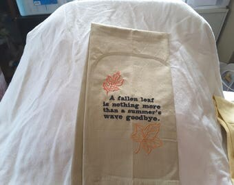 Embroidered Fallen Leaf Kitchen Towel