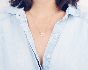 Delicate simple everyday open triangle necklace