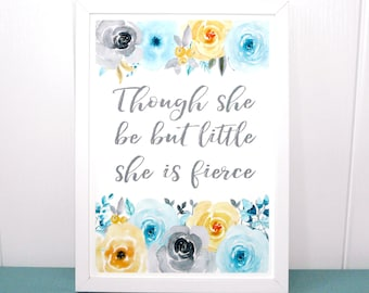 Shakespeare Wall Print, Though She Be But Little, She is fierce, UNFRAMED A4 Pastel Blue And Gold Watercolour, UK