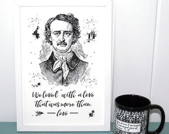 Edgar Allan Poe Book Print, UNFRAMED A4 Annabel Lee Literary Quote, We loved a love..., UK