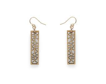 Dangle earrings - drop earrings - wooden earrings - laser cut statement earrings - eco friendly jewelry - wooden anniversary