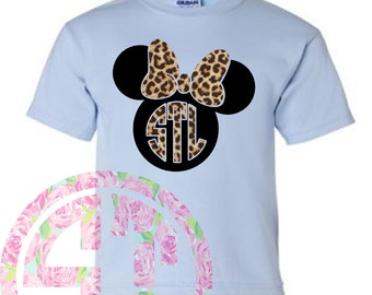 Mouse with Bow Heat Transfer Leopard Short Sleeve T Shirt Gildan (or similar brand)