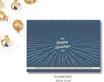 Starburst Holiday Printed Cards | Happy Holidays | Corporate | Merry Christmas |  Printed or Printable by DarbyCards