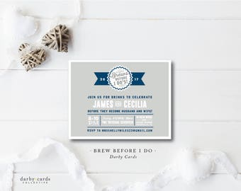 Brews before I Do Party Invitations | Engagement | Rehearsal | Party Invitation | Printed or Printable File by Darby Cards