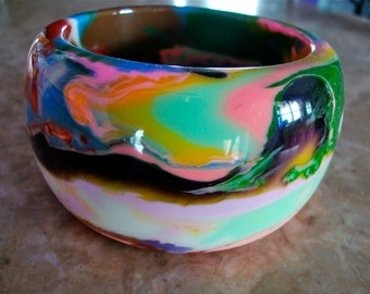 R SOBRAL JACKIE BRAZIL Huge Multicolor End Of Day Marbled Opaque Swirl Thick Chunky Heavy Handmade Resin Bangle Bracelet