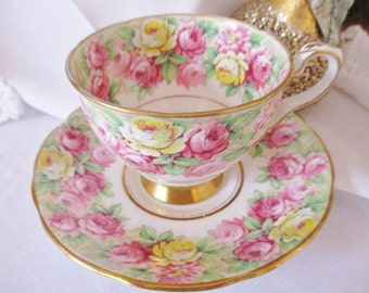 Vintage Royal Stafford floral chintz teacup and saucer set, Rosanna teacup and saucer, english tea cup, tea party, excellent condition