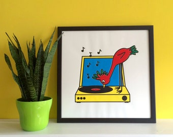 Bird and Record Player Screenprint, Square Poster, Vinyl Poster, Retro Music poster, Bird Art Print, Fun Wall Art, Colorful Screenprint Art