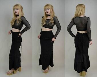 90s Gothic Black High Waist Corset Back Wiggle Maxi Skirt S / M