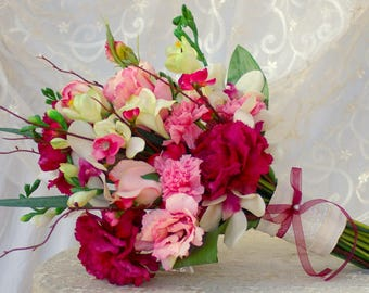 Hand tied Spring Wedding Bouquet Magenta Pink Real Touch