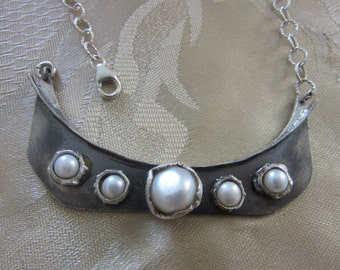 Artisan Silver and Pearl Collar