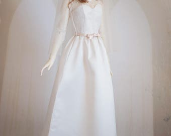 Abby gown . OOAK SD16 off-white duchesse satin wedding dress with eyelash lace bodice and bow belt (choice of veil)