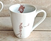 Skeleton Mug, Holding Heart in Hand, Macabre Love Coffee Cup, Love Romance Goth Dark Humour, 14 oz Porcelain Mug, Ready to Ship