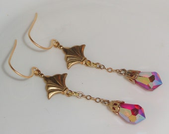 Gold Tone Chain Faceted Red Aurora Borealis Drop Dangle Pierced Hook Earrings