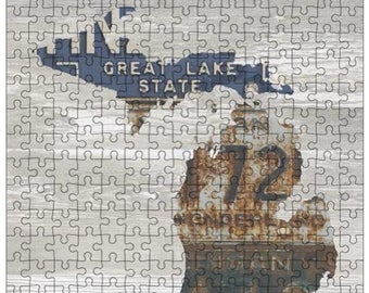 Michigan Jigsaw Puzzle | Vintage License Plate Art | State Outline | Fun Puzzle