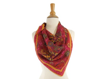 80s Silk Floral Scarf in Red and Gold Metallic Floral