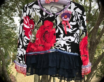 Festival Roses and Blossoms Cropped Sweater Ruffles Glitter Trim Swing Beads OOAK