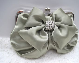 Green Mint Sage Satin Bow Evening Clutch Shoulder Bag with Gorgeous Satin Bow and Pearl and Rhinestone Accent Band Mother of the Bride Prom