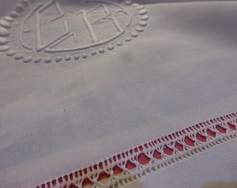 French Pure Linen Sheet, King Size,  REWORKING, Antique, Circa 1930  Monogrammed