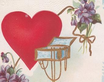 "Ca. 1912 ""Violets & Heart"" Valentine Greetings Postcard - 2343"