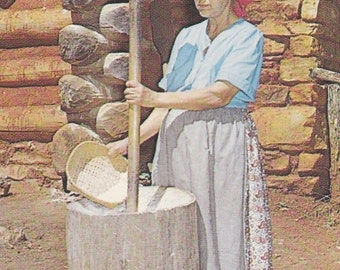 "Ca. 1960's ""Cherokee Woman Making Corn Meal"" in NC Topographical PicturePostcard - 2441"