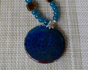 19 Inch Teal Blue and Brown Fire Agate Beaded Pendant Necklace with Earrings