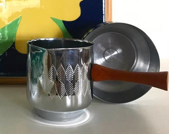 Stainless steel Sugar bowl and Creamer with wooden handle