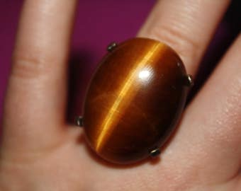 Chatoyant Quartz Brown Gemstone Ring Sterling Silver Size 7