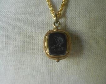 Spring Sale Unique Vintage Black Cameo Tiger Eye Slide Locket Pendant Necklace Victorian