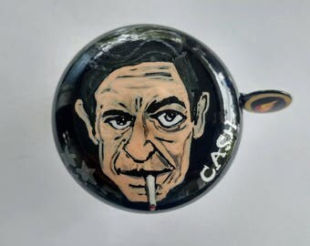 johnny cash bicycle bell painted ring of fire unique art bike bicycle accessories biker rock n roll memorabilia hand painted unique original