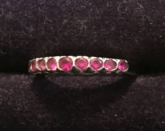 Ruby Ring, Platinum, Anniversary, Eternity, Stacking, SPRING SALE