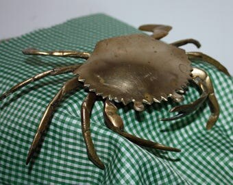 Vintage Brass Crab, Ash Tray, Trinket Box, Father's Day Gift, Fathers Day, BuyBackYesterday
