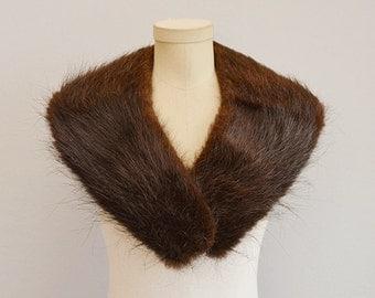 Vintage 50s Fur Collar / 1950s Oversized Chocolate Brown Beaver Fur Shawl Collar