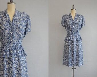 Vintage 40s Rayon Dress / 1940s Floral Ribbon Print Rayon Shirtdress with Peplum