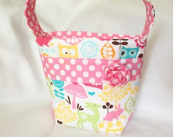 Owl Forest Life Fabric Easter Basket