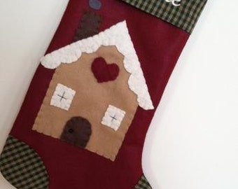 Gingerbread House Stocking, Gingerbread Stocking, Stocking with Gingerbread House, Gingerbread Christmas Stocking, Gingerbread House