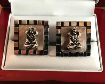 Rare Original Vintage SWANK MOP Buddha Cufflinks