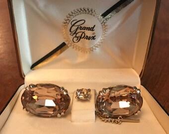 Vintage SWANK Grand Prix Collection Quartz Crystal Cufflink Set