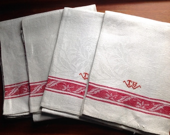 4 vintage French damask tea towels red embroidery and borders