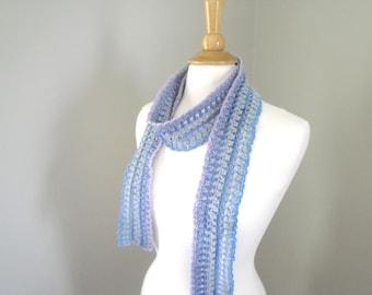 Skinny Crochet Scarf, Blue Gray Lavender, Lacy Lace Long Thin Cute Fashion Accessory, Elegant Art Scarf
