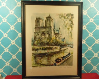 Framed Notre Dame Lithograph Signed Marius Girard Paris Art Vintage 1960s