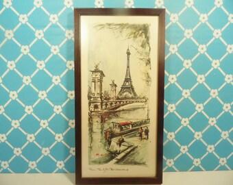 Mid Century Paris Lithograph - C Ducollet - Eiffel Tower