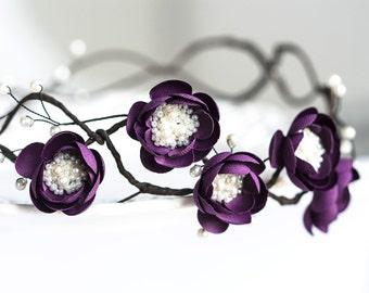 75_Violet flower hair crown, Rustic flower crown, Plum headband of flowers, Floral headband, Hair accessories silk, Flowers crown in hair