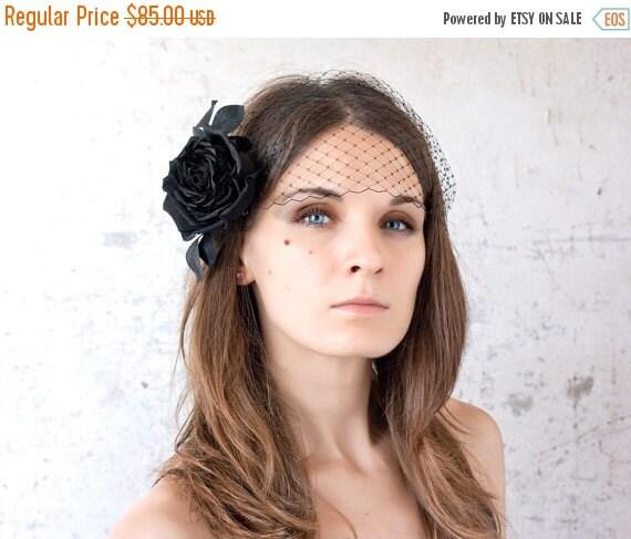 Black rose, Birdcage veil, Black birdcage, Black hair accessories, 20s hair accessories, Black silk rose, Birdcage veil flower Retro weddin