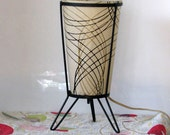 Vintage Fiberglass Lamp With Wire Frame & Hairpin Legs - Small Table TV Lamp - 1950s