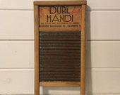 Antique Small Metal and Wood Washboard,Columbus Washboard Company