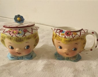 Vintage Lefton Miss Dainty Sugar and Creamer Set 1950s