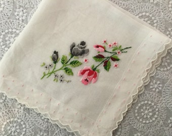 Vintage Embroidered Handkerchief,Bridal Hankie
