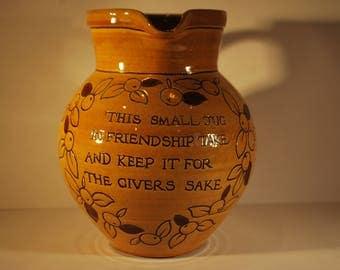 North Devon Pottery Motto Jug - Susan Juniper - Bideford Pottery