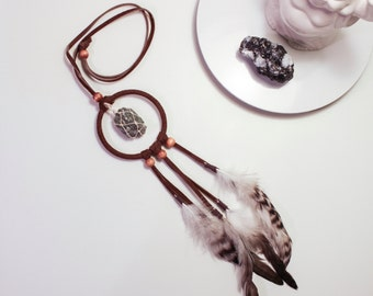 Brown Crystal Dreamer Necklace -  Modern Leather Pendant, Wrapped Crystal, Feathers, Wood Beads, Labradorite, Statement Jewelry, Boho Chic