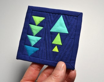 Blue Mini Quilt, Geometric Quilt, Fabric Postcard, Mini Quilt,  Mini Mini Quilt, Fiber Art
